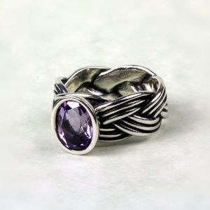 Sterling pandora amethyst ring!